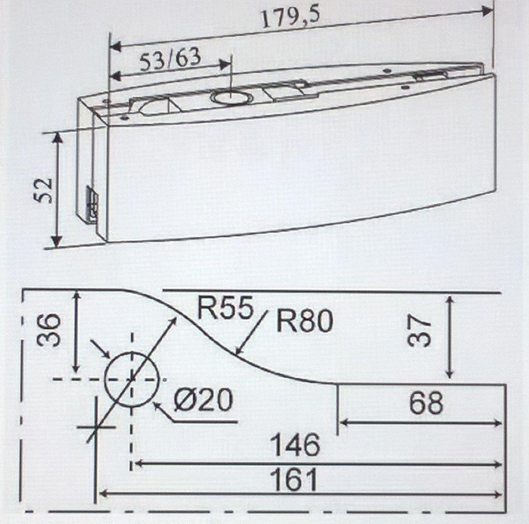 bisagra puerta cristal montaje u parte superior